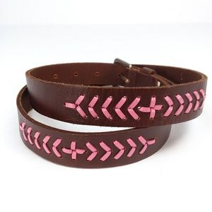 AEO Brown Leather Belt w/ Pink Leather Lace Trim